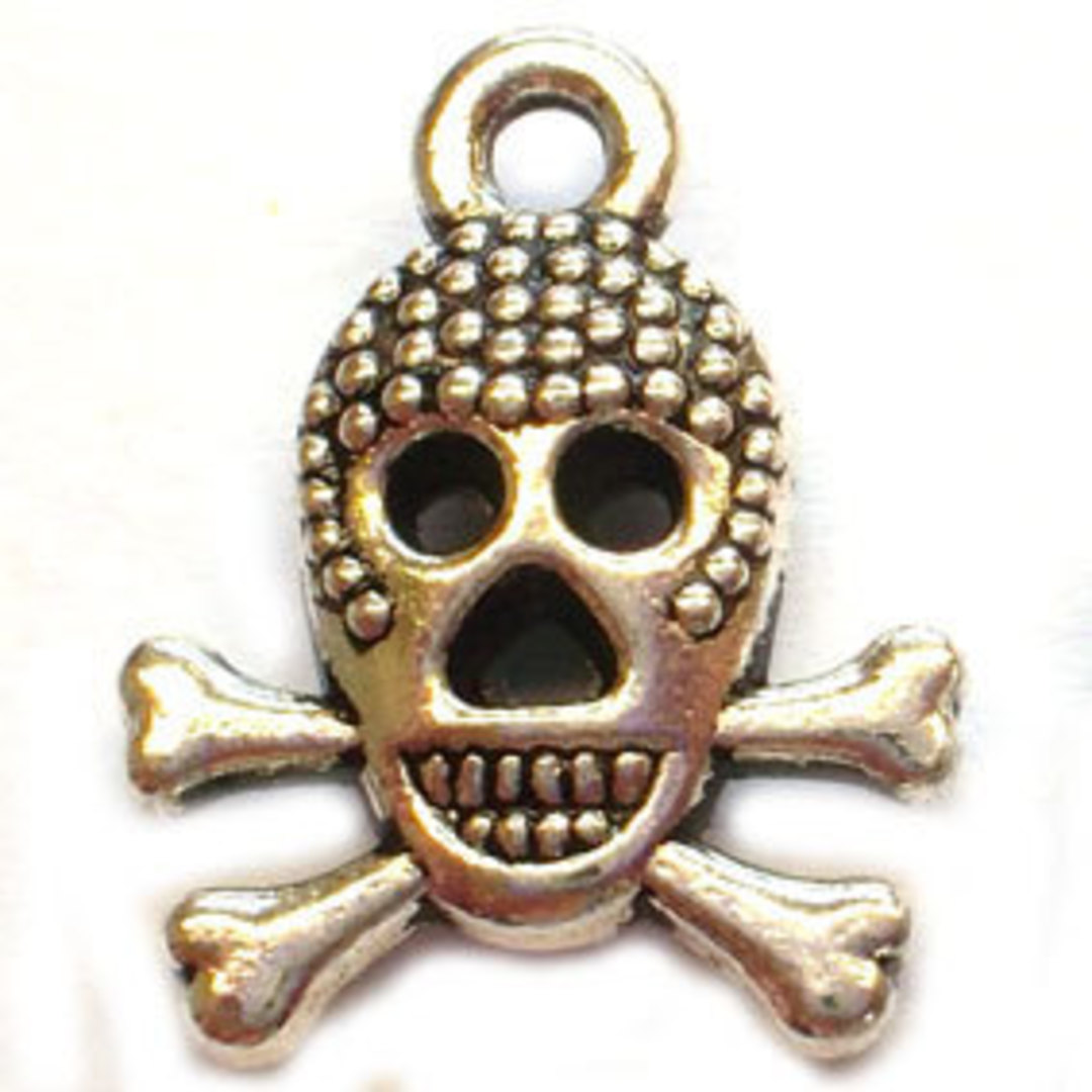 Metal Charm: Grinning Skull - antique silver image 0
