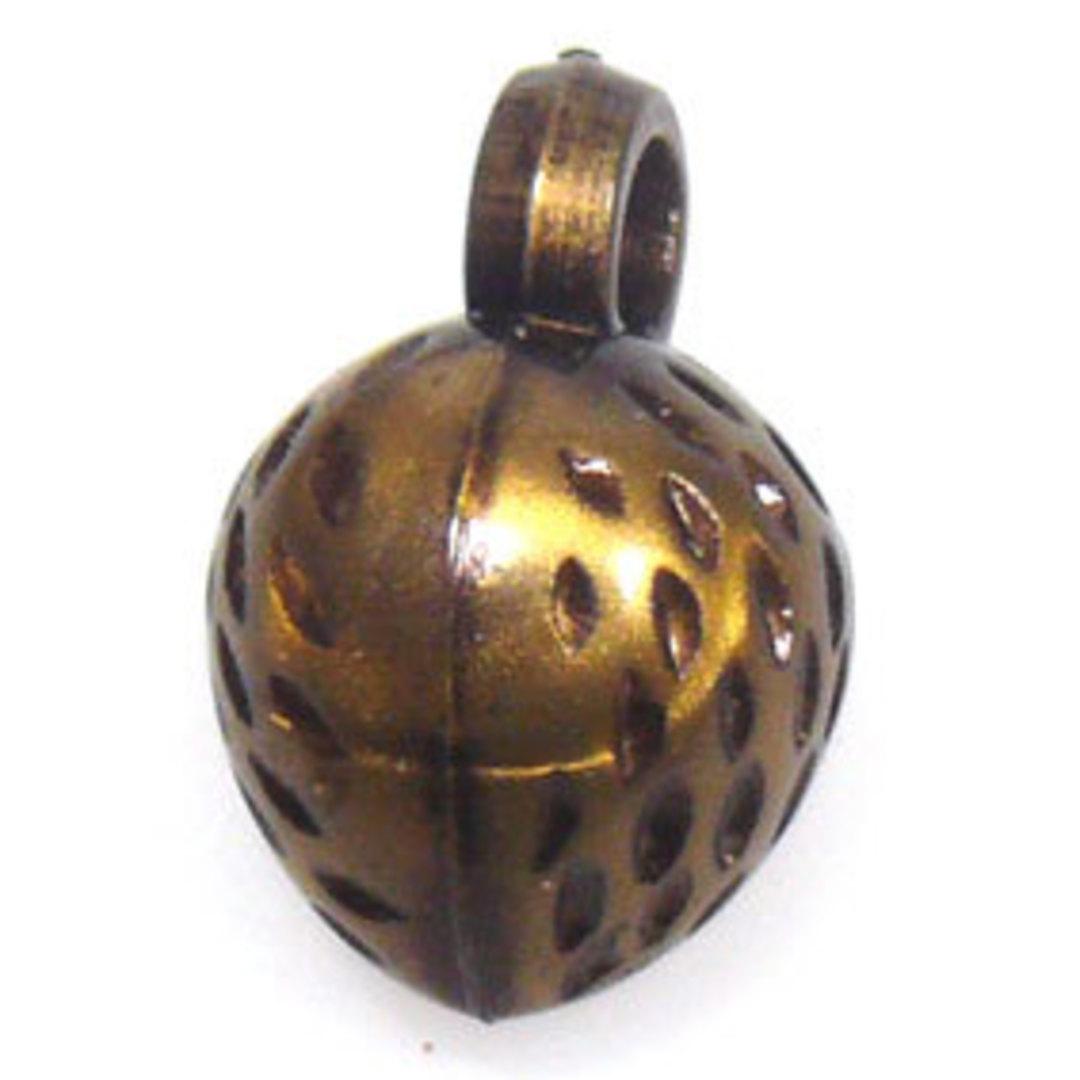 Acrylic Charm: Strawberry - antique brass image 0