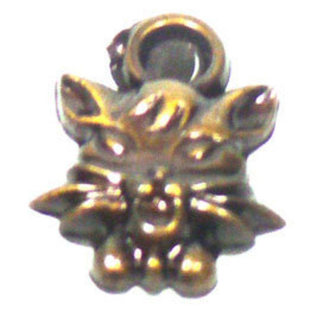 Acrylic Charm: Cat face - antique brass image 0
