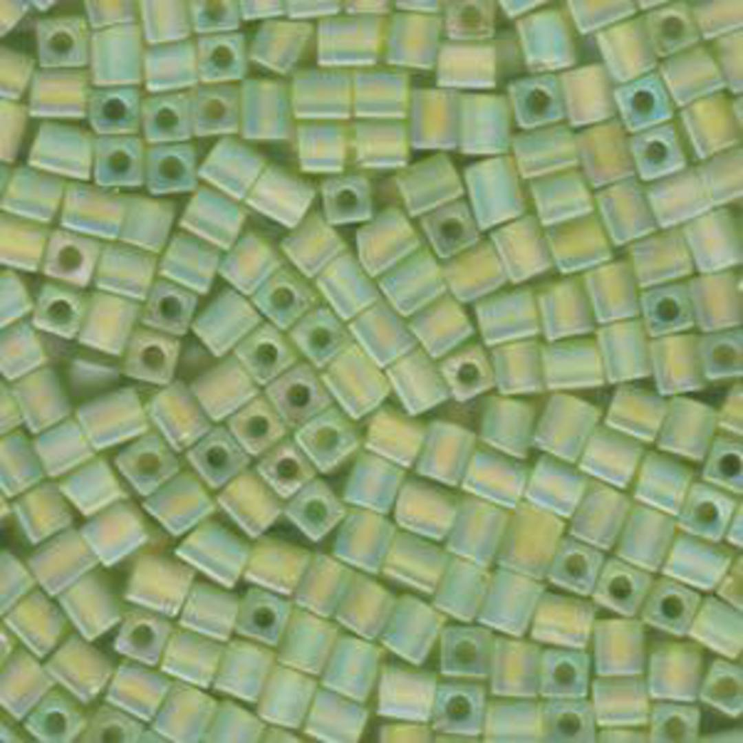 4mm Miyuki Square: R143 - Lime Rainbow Frosted image 0