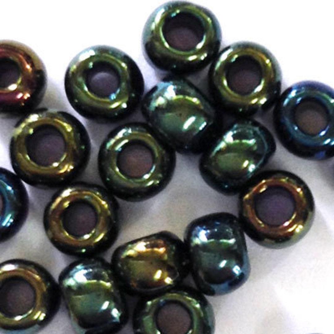 Toho size 6 round: 453 - Dark Green Iris, metallic sheen image 1