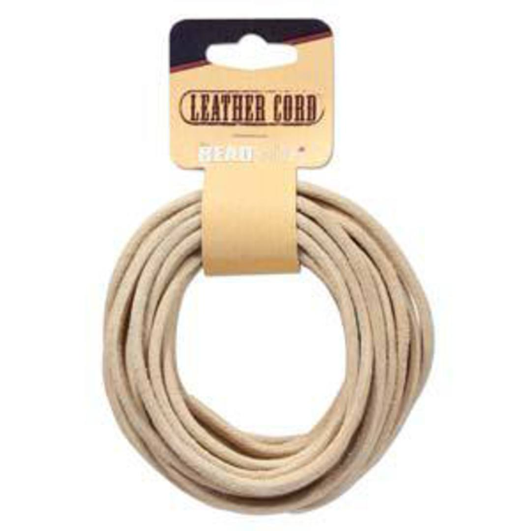 3mm Natural leather cord: 5 yard card (4.5m) image 0