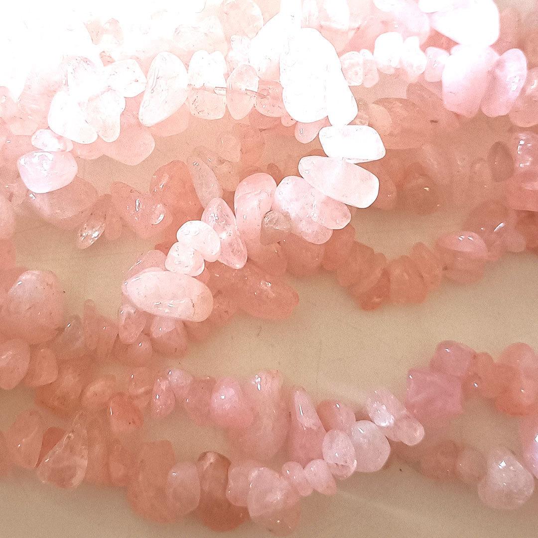 Rose Quartz chips: 42 cm strand image 0