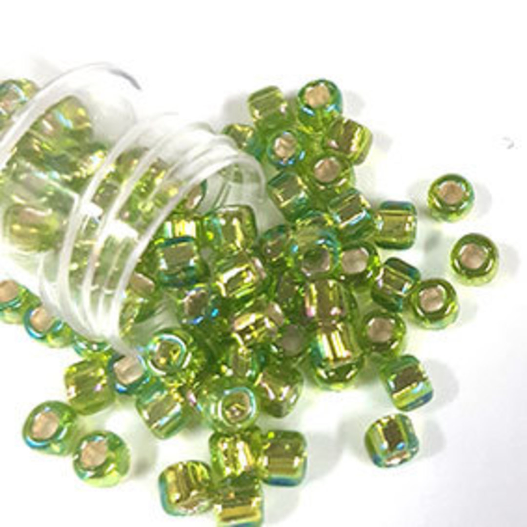 Matsuno size 6 round: 643A - Lime Green AB, silver lined image 0