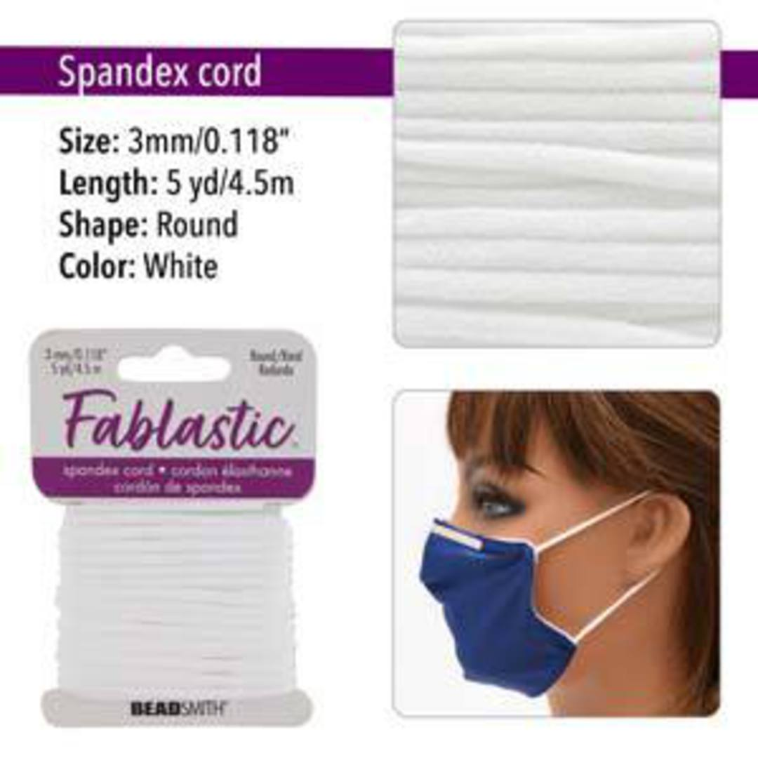 Fablastic round stretch cord: 3mm, white image 0