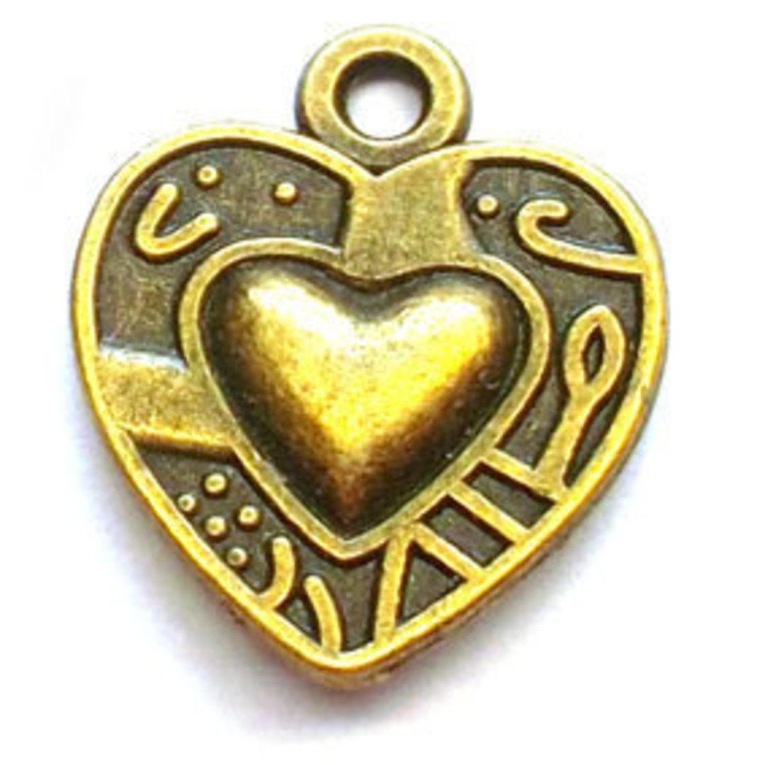 Metal Charm: Heart - brass image 0