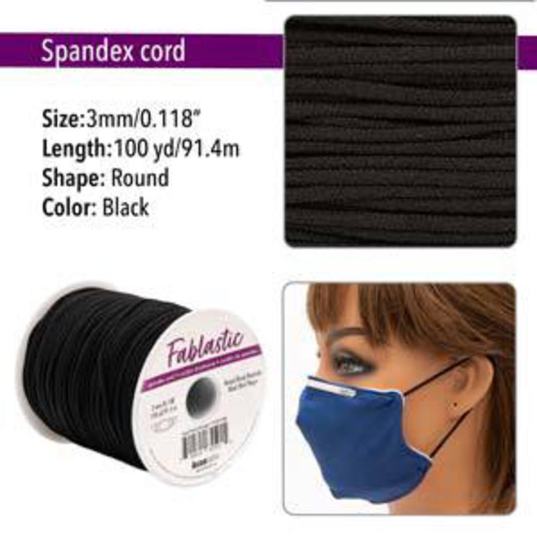Fablastic round stretch cord: 3mm, black image 0