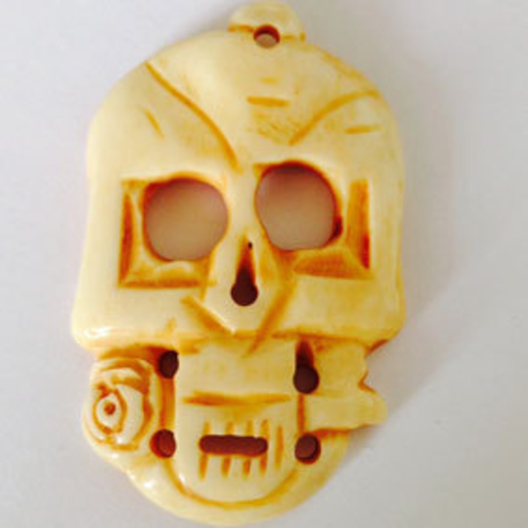 Bone Bead: Very Large Skull with rose image 0