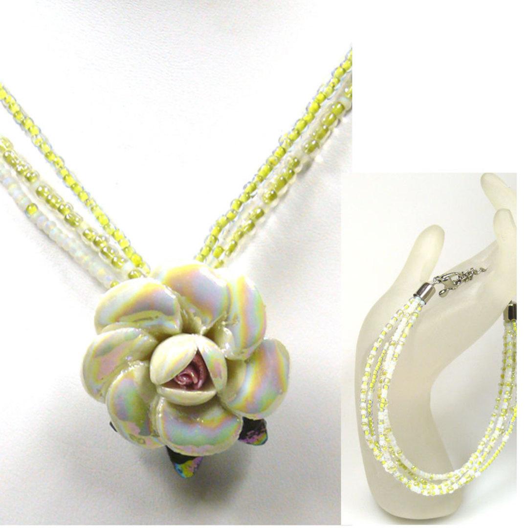 CLEARANCE KITSET: Rose necklace and bracelet - Light Yellow image 0