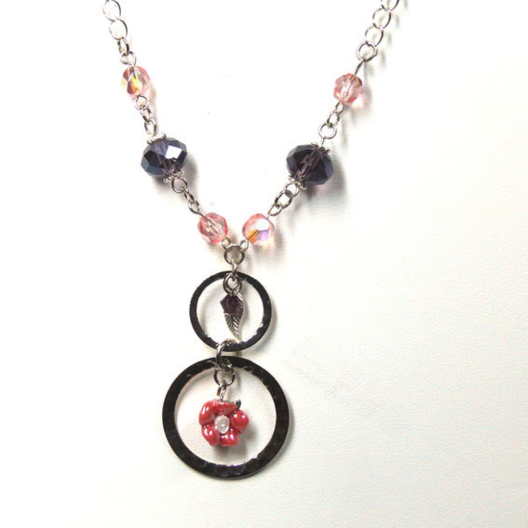 CLEARANCE: Linked Chain Necklace Kitset, pinky flower image 0