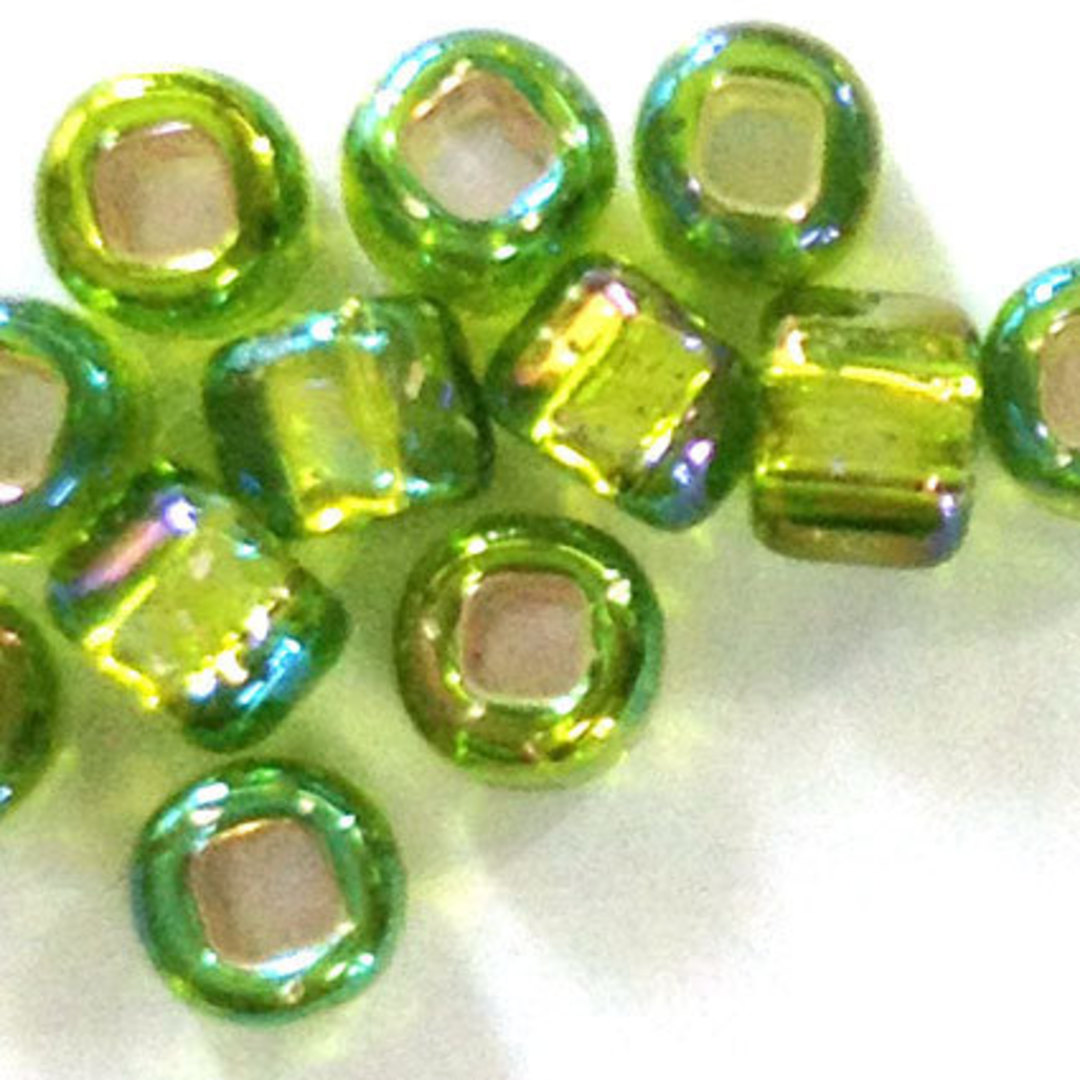 Matsuno size 6 round: 643A - Lime Green AB, silver lined image 1