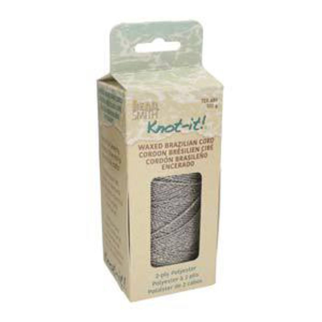 NEW! 1mm Knot-It Brazilian Waxed Polyester Cord: Metallic Silver image 2