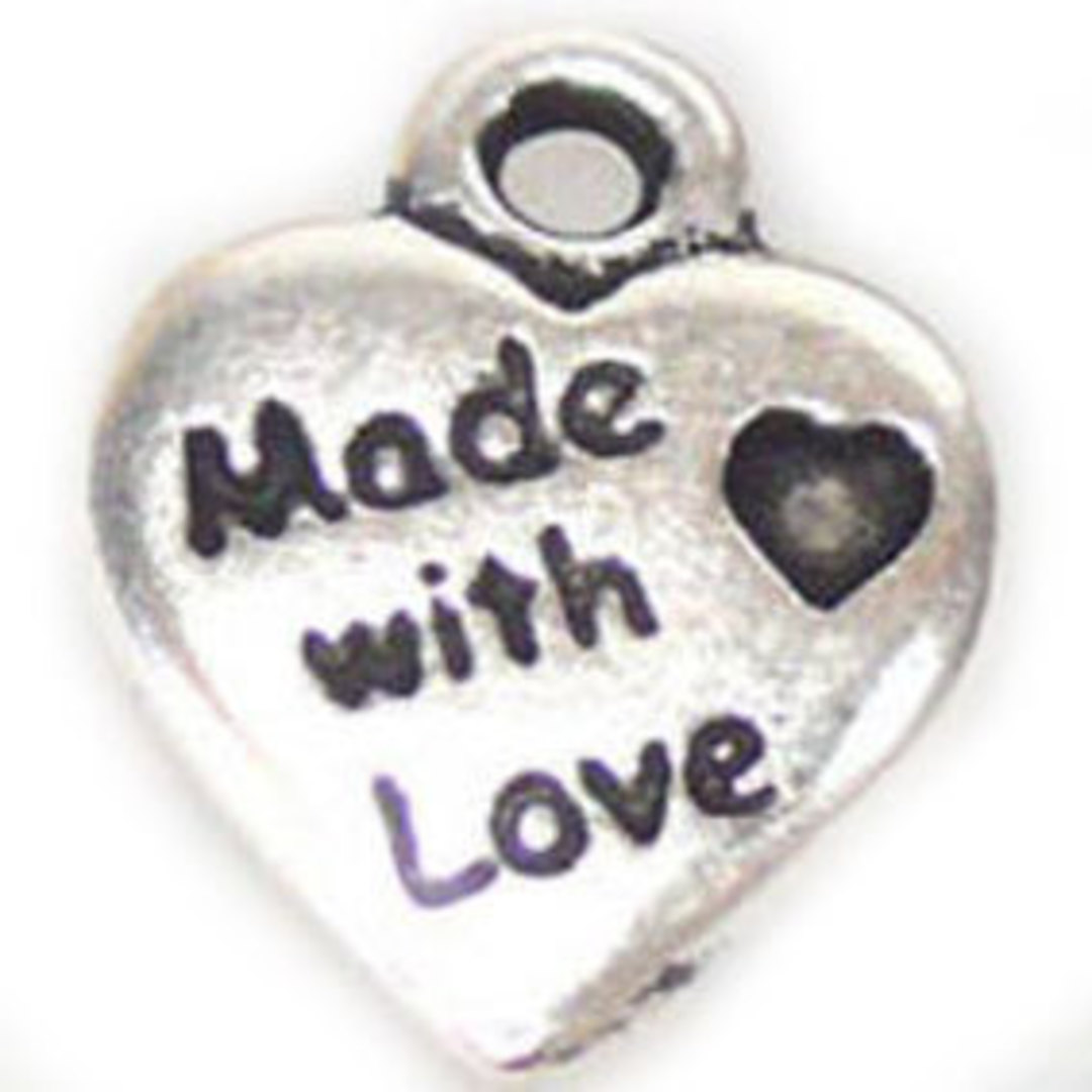 Metal Charm: 'Made with Love' heart - silver image 0