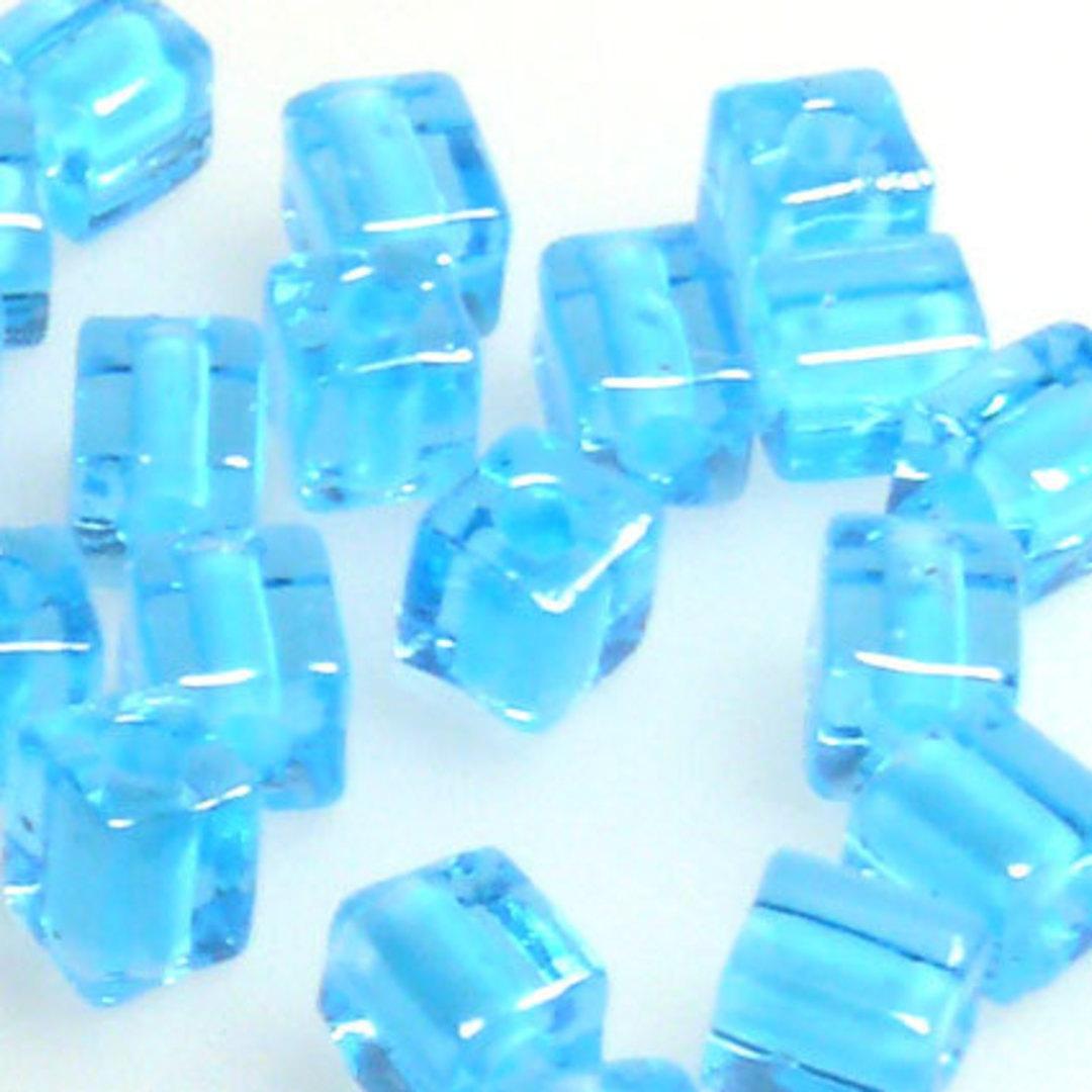4mm Miyuki Square: 2652 - Aqua/Aqua, colour lined image 0