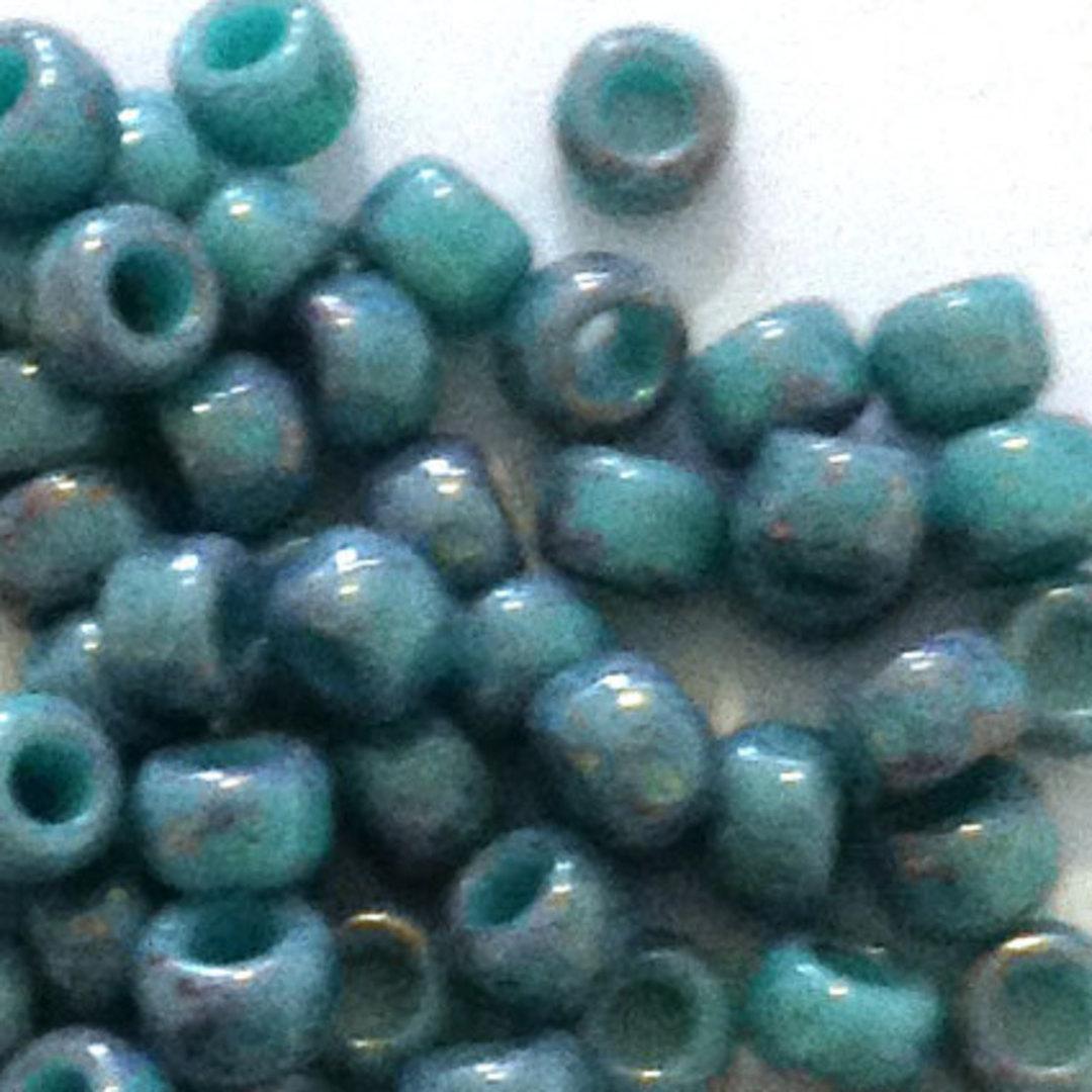 Toho size 8 round: 1206 - Stonewashed Teal Blue/Purpley image 1