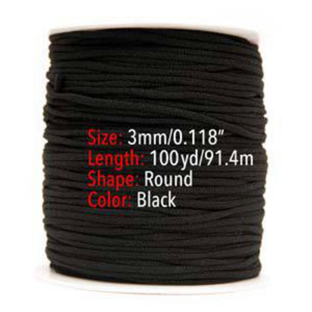 Fablastic round stretch cord: 3mm, black image 3
