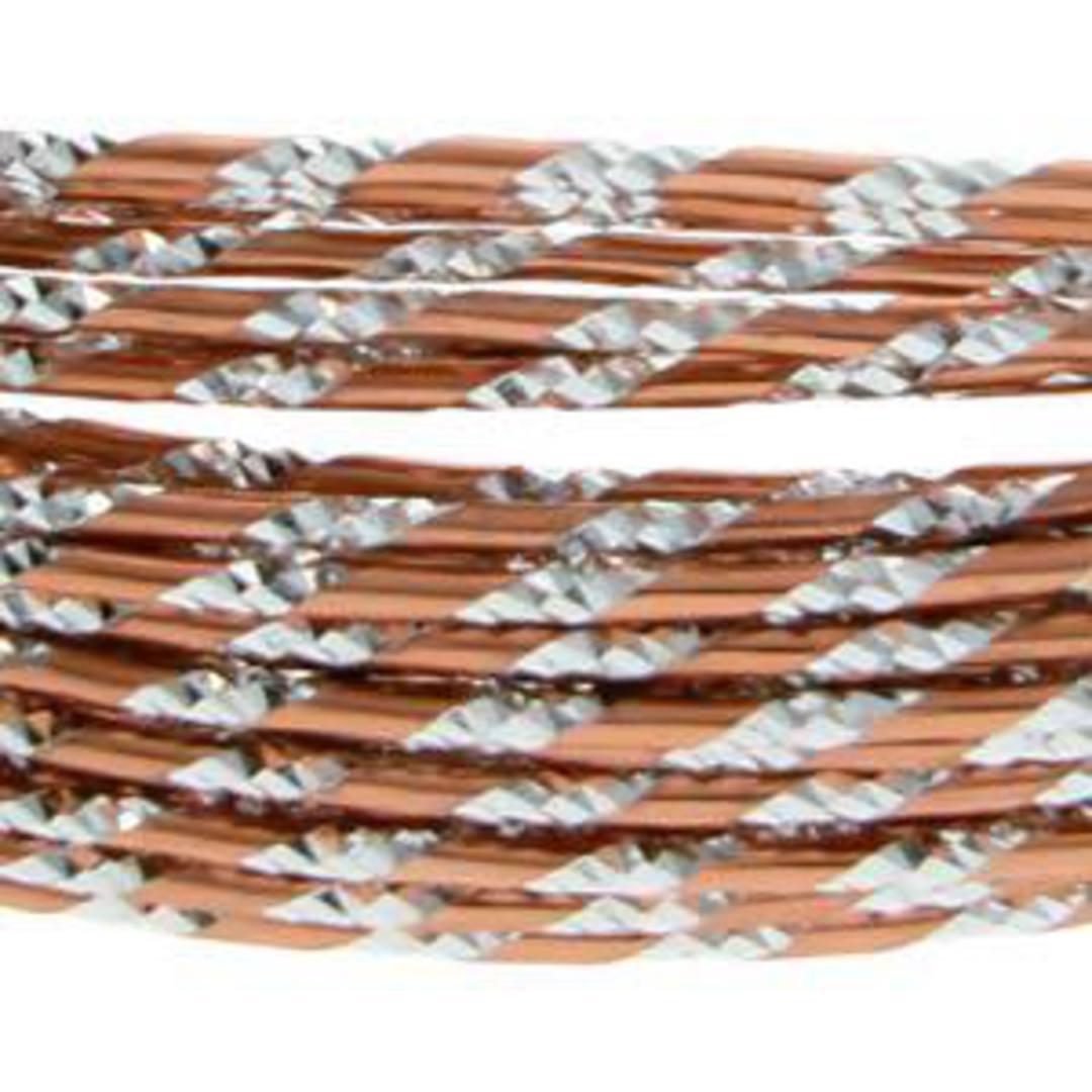 Aluminum Diamond Cut Craft Wire: 12 gauge - Copper/Silver image 2
