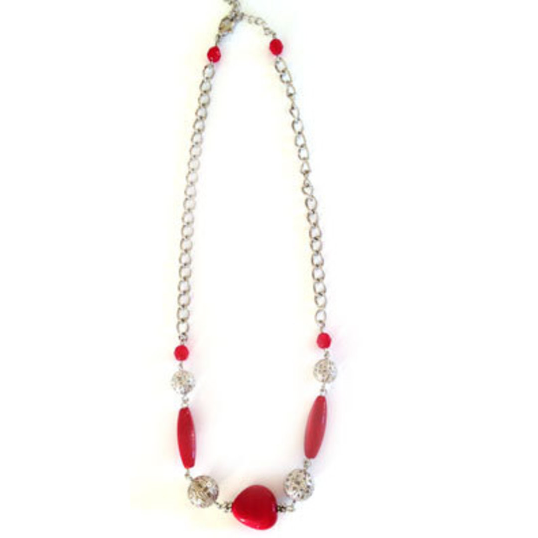 CLEARANCE: Linked Chain Necklace Kitset: Red and Silver image 0