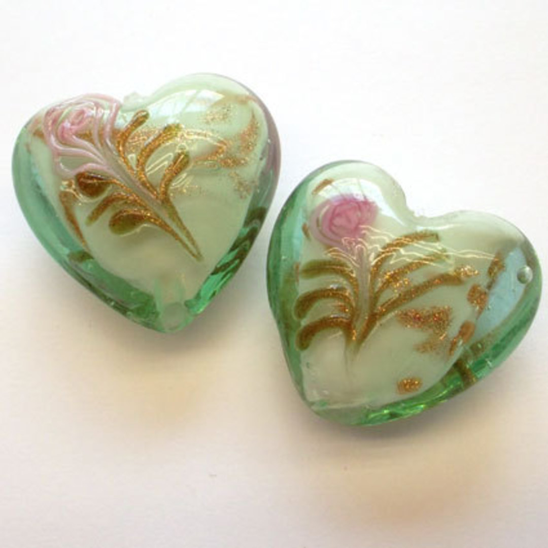 Chinese lampwork heart, mint with pink flower decoration image 0