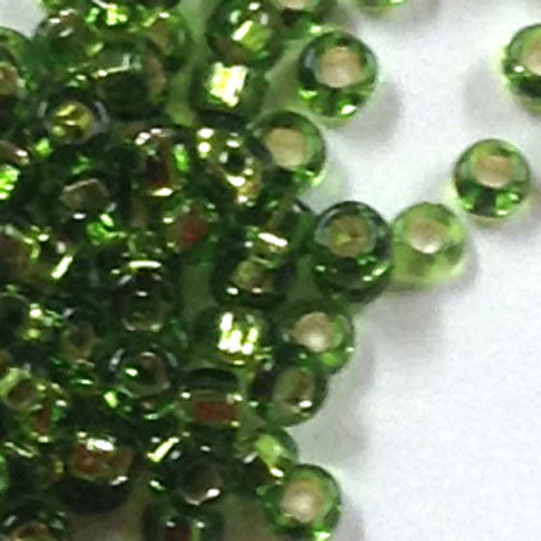 Miyuki size 15 round: 15 - Forest Green, silver lined image 0