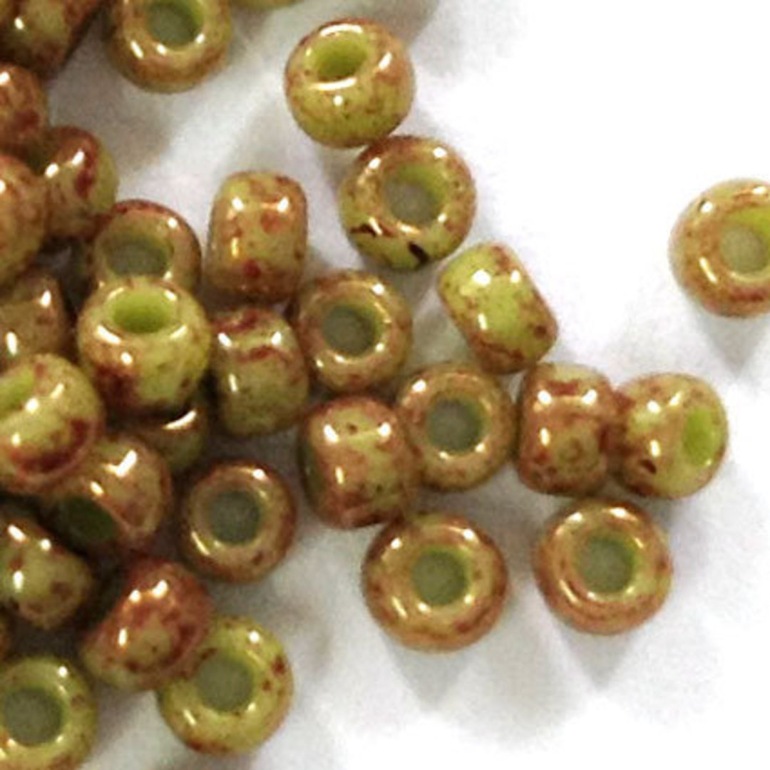 Toho size 11 round: 1209 - Stonewashed, Lt Olive/Brown image 1