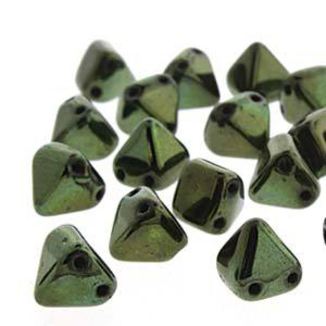 Pyramid Stud:  6mm - Jet Red Lustre (Metallic Green) image 2
