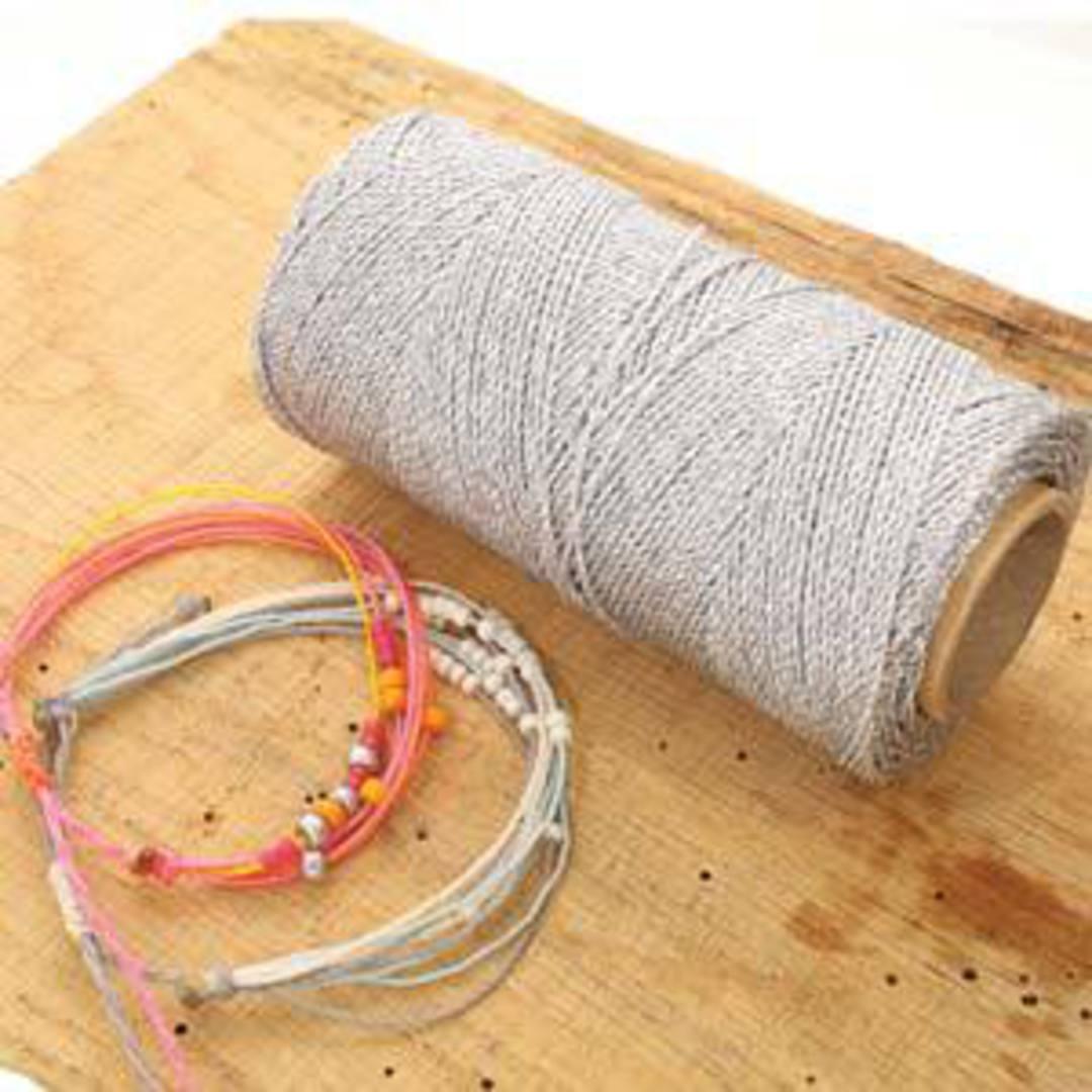 NEW! 1mm Knot-It Brazilian Waxed Polyester Cord: Metallic Silver image 1