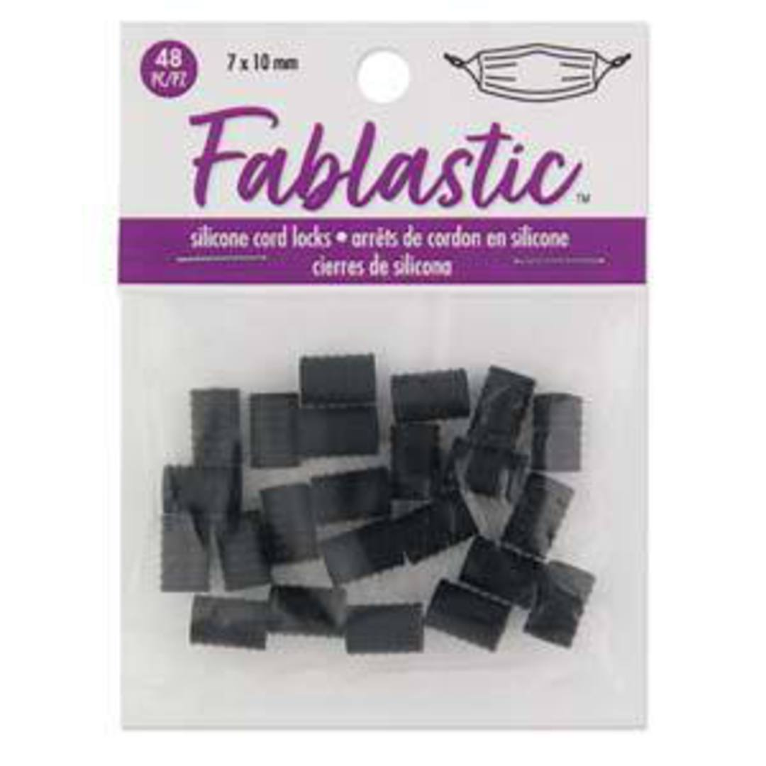 BACK EARLY NOV Fablastic Cord Lock Bead (mask adjuster): tubular 7mm x 10mm black image 4