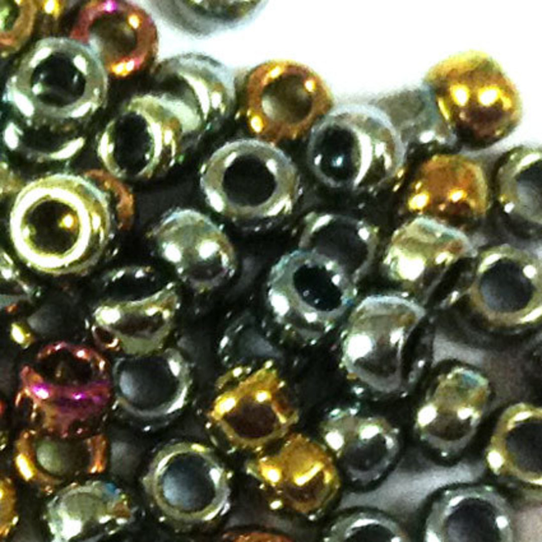 Toho size 8 round:  462 - Grey/Gold/Purple Metallic image 1