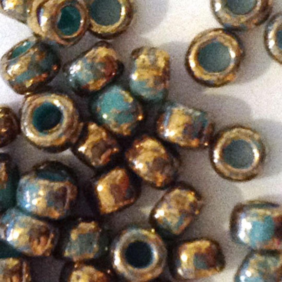 Toho size 8 round: 1703 - Colourwashed, Teal/Bronze image 1