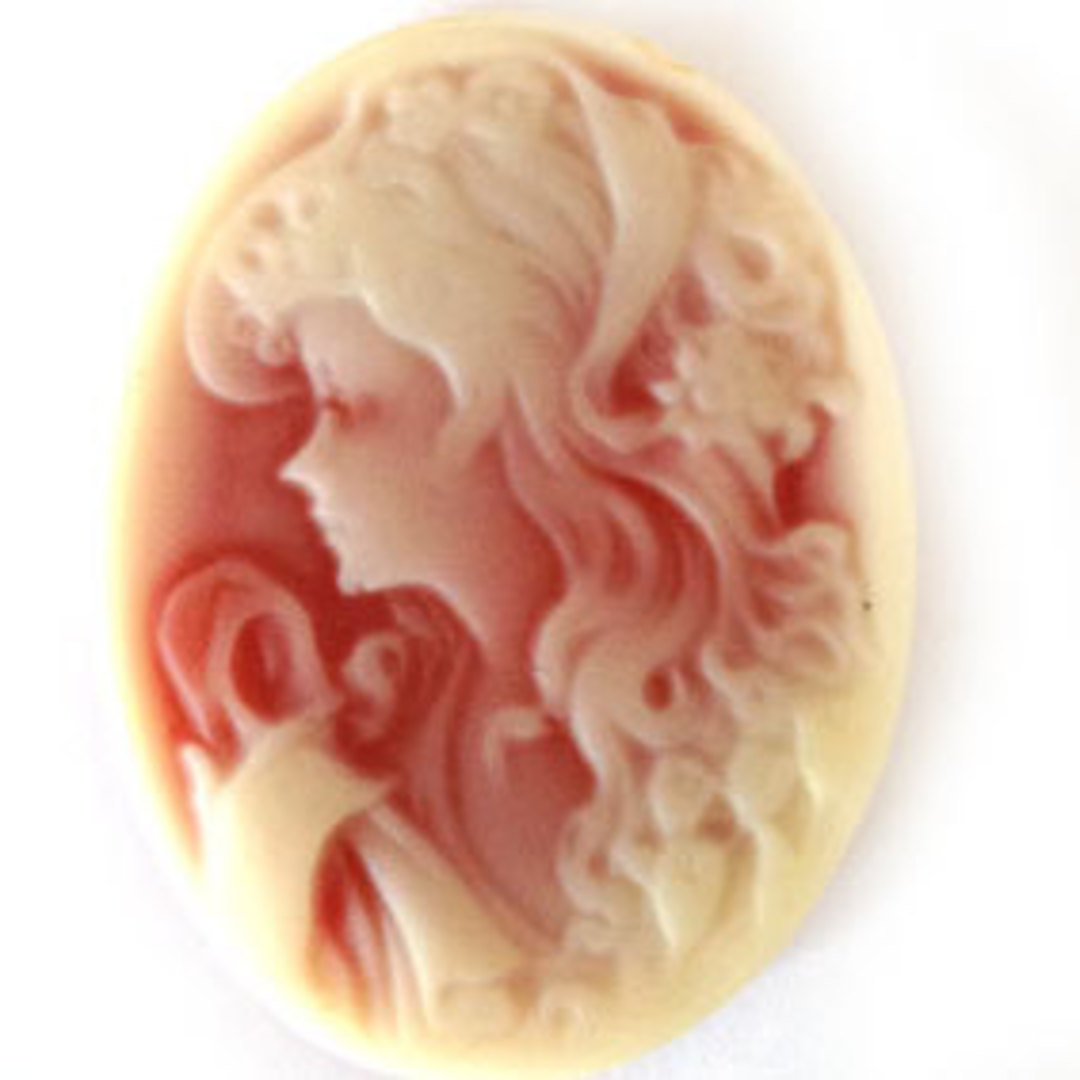 Cameo Cabochon: Terracotta and cream oval 28x38mm, modern female head. image 0