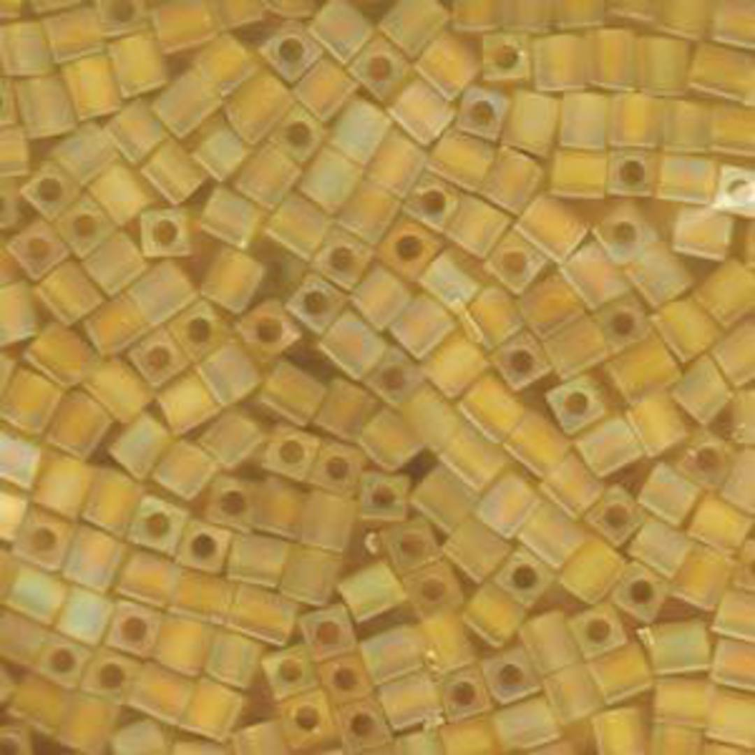 4mm Miyuki Square: R136F - Transparent Frosted Rainbow Yellow image 0