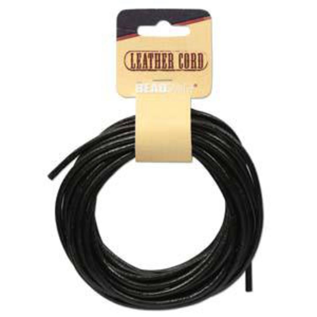 3mm Black leather cord: 5 yard card (4.5m) image 0