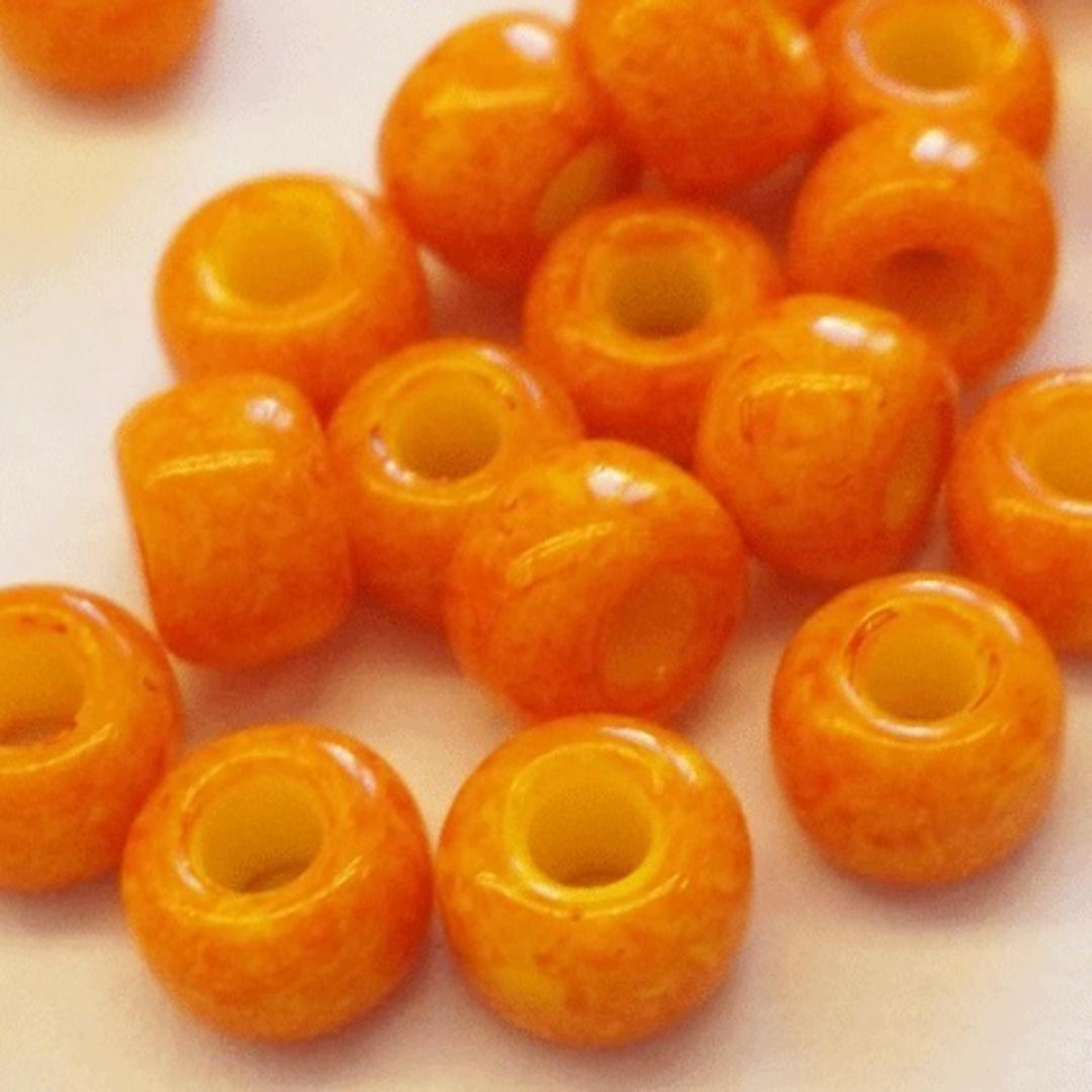 Miyuki size 8 round: 405B - Vintage Orange Opaque, speckled image 1