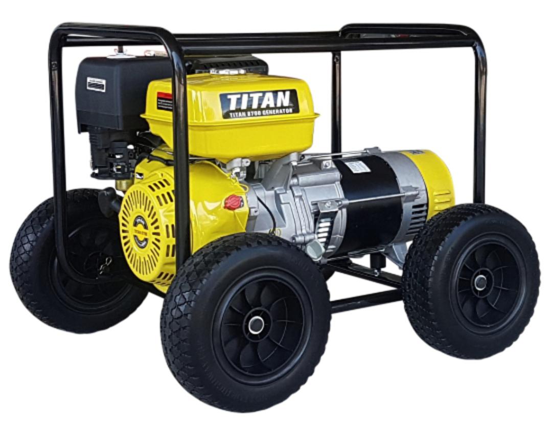Titan 8700 7.3kW Petrol Generator With Wheels image 0
