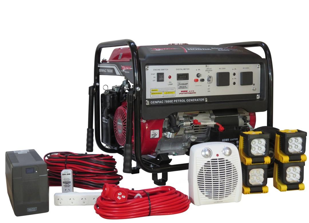 Genpac 7800E 6.5kW Honda Powered Generator + Emergency Backup Kit image 0