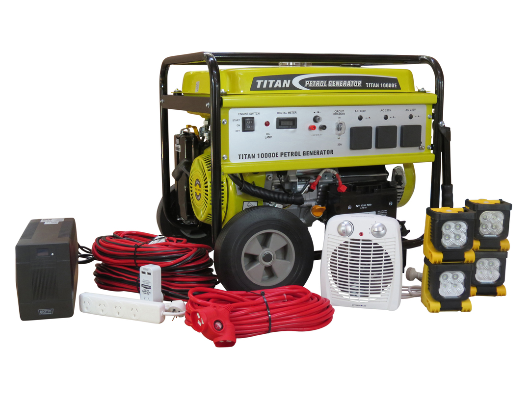 Titan 10000E 8.4kW Petrol Generator + Emergency Backup Kit image 0