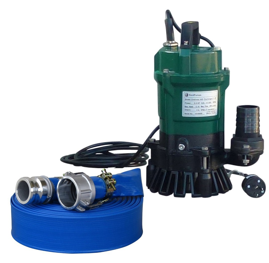 "2"" Reid Drainvac 750 Semi-Vortex Drainage Submersible Pump - No Float Switch + Hose Kit image 0"