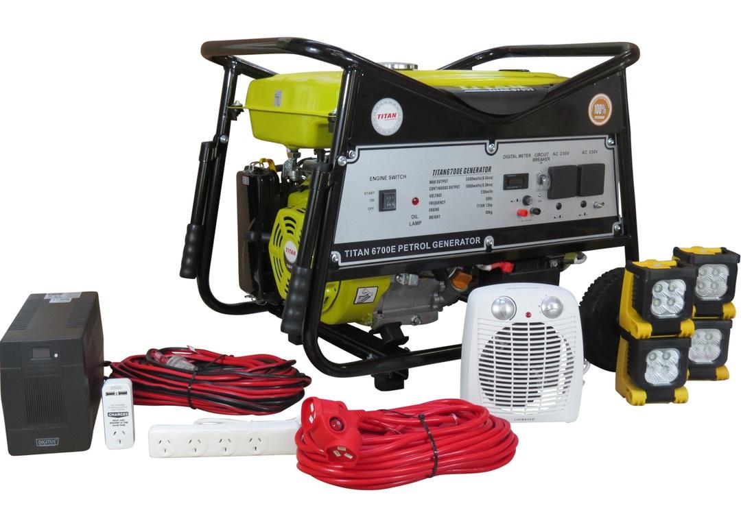Titan 6700E 5.5kW Petrol Generator + Emergency Backup Kit image 0