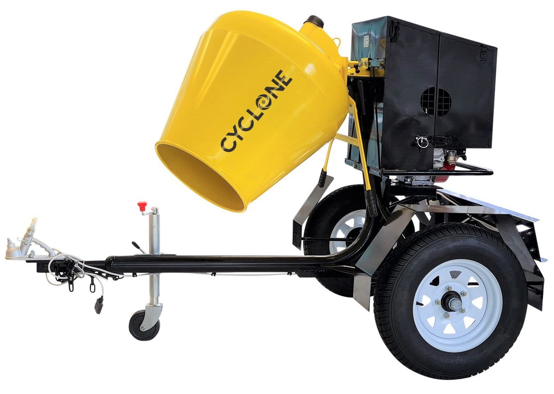 CYCLONE R190 Concrete Mixer Road Towable - Honda Petrol Engine image 0