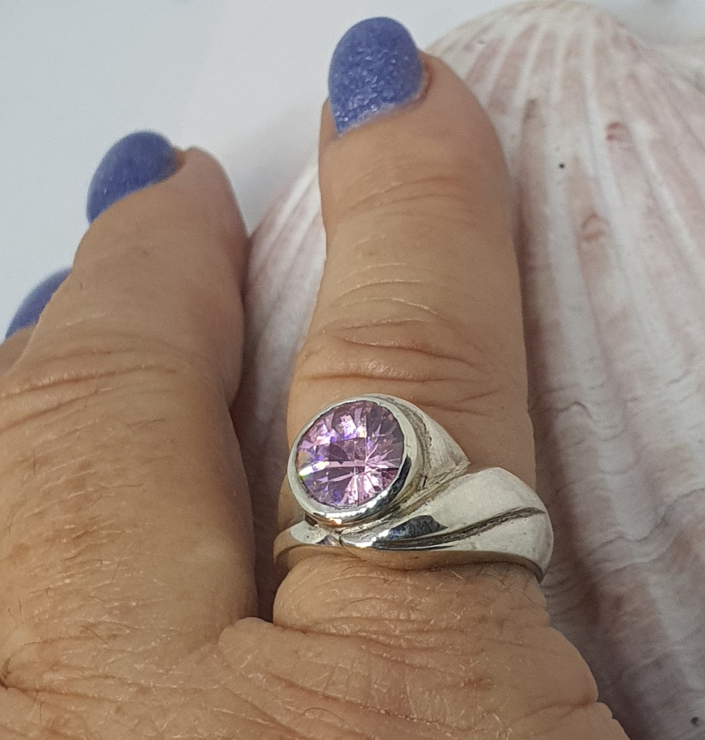 Solid sterling silver pink gemstone ring image 1