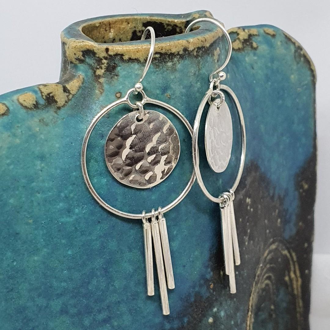 Modern funky silver earringsd image 0