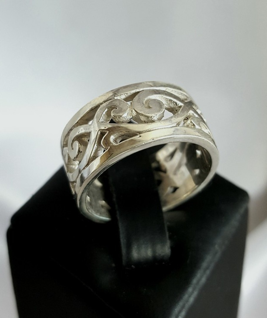 Sterling silver wide band with carved koru designs image 3