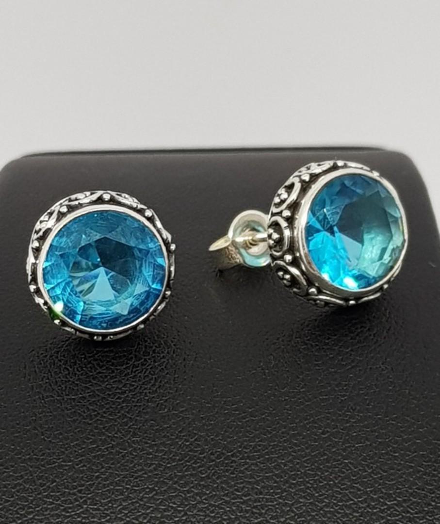 Alluring blue topaz stud earrings image 1