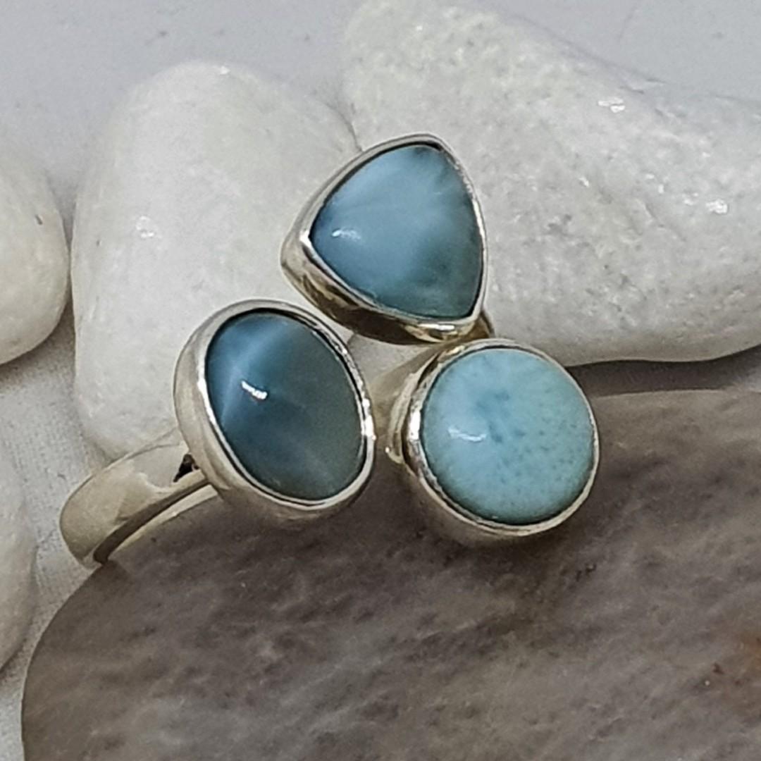 Sterling silver larimar gemstone ring image 2