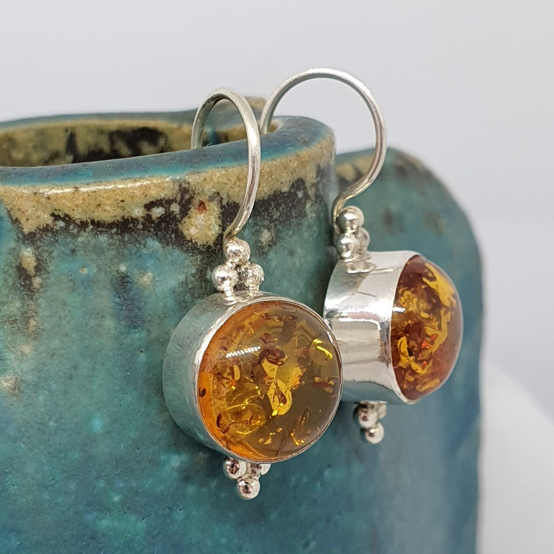 Sterling silver round amber earrings image 0