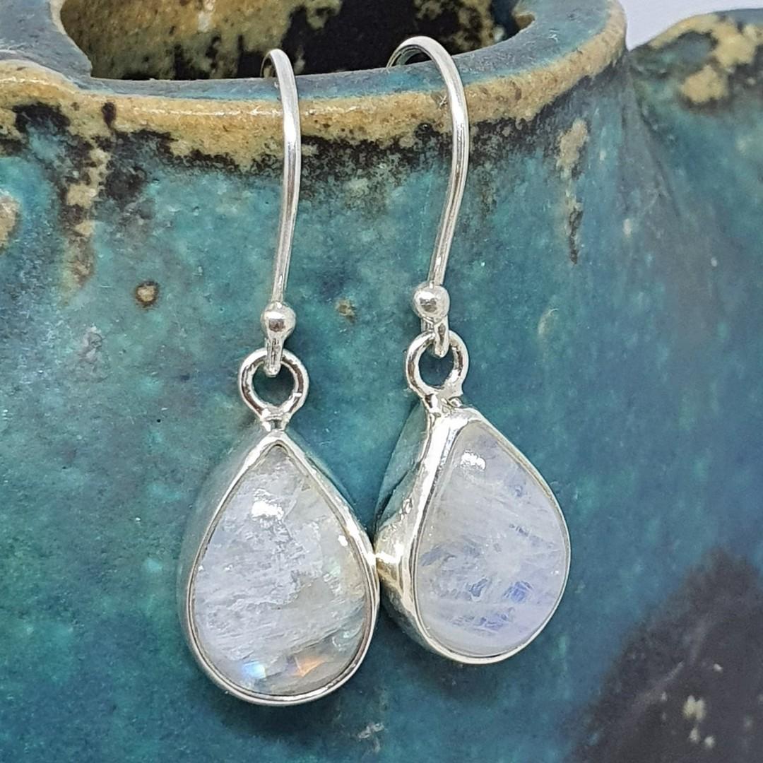 Teardrop moonstone silver earrings, sterling silver image 2