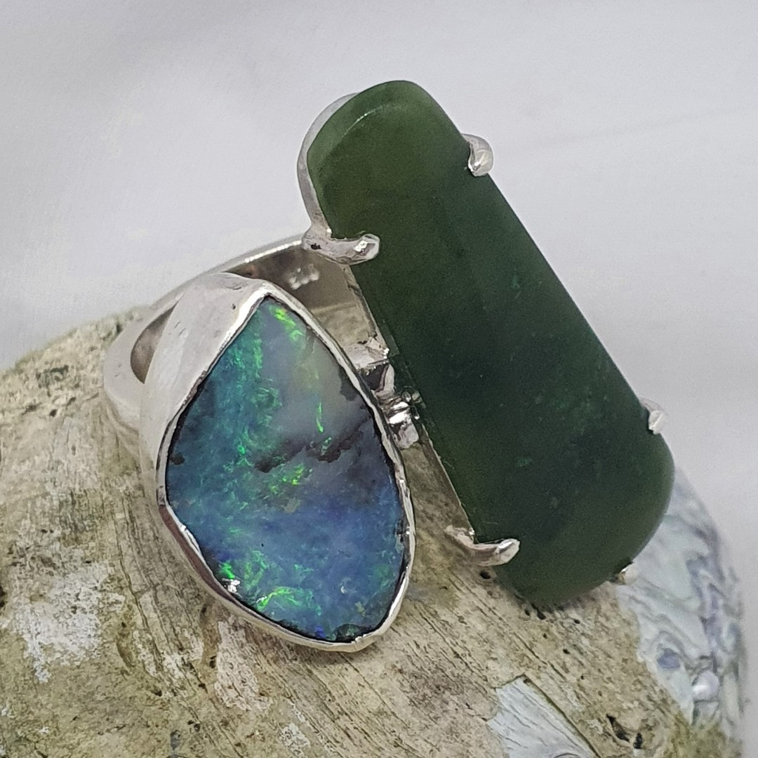 Chunky New Zealand greenstone and Australian boulder opal ring image 2