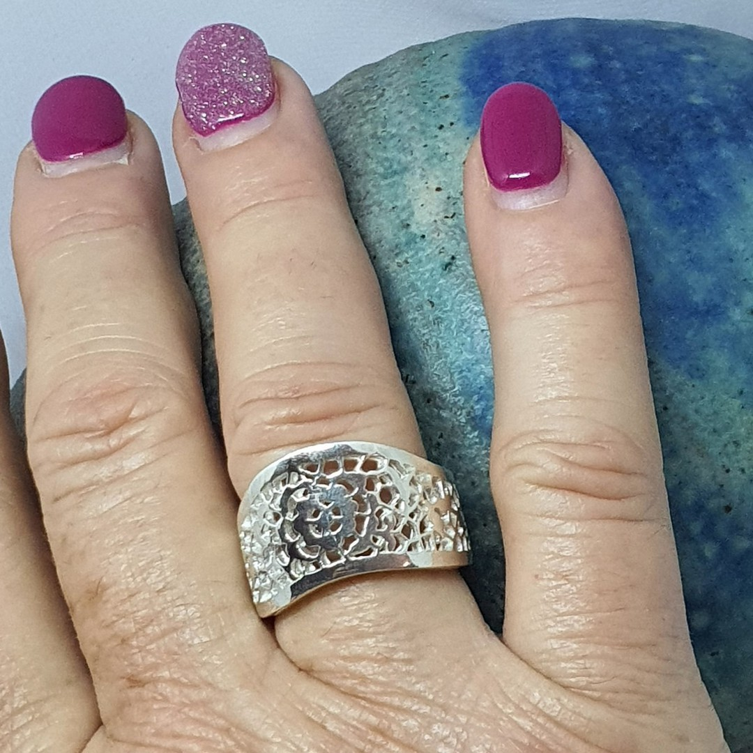 Chunky lace silver ring, made in NZ image 2