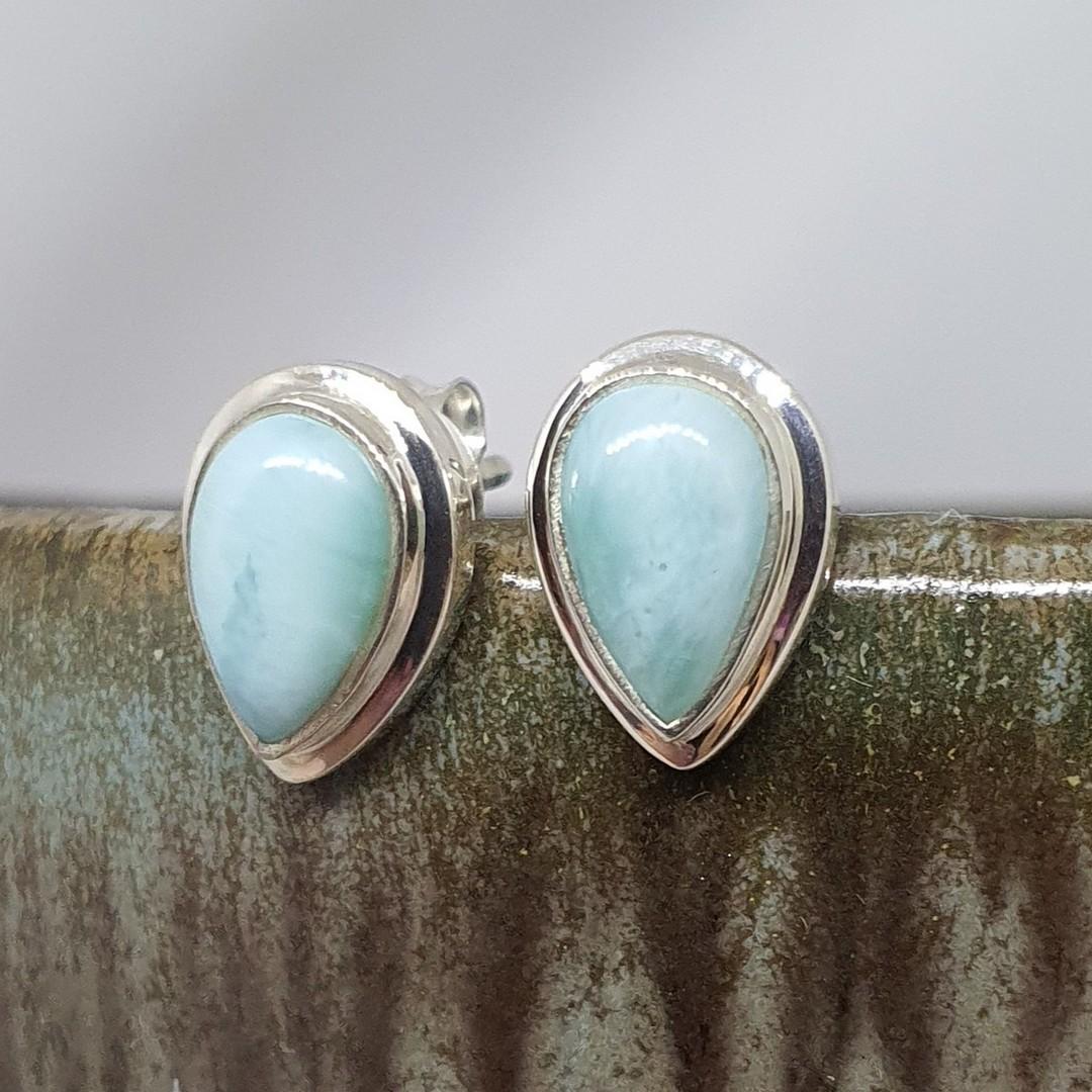 Teardrop larimar gemstone stud earrings image 0